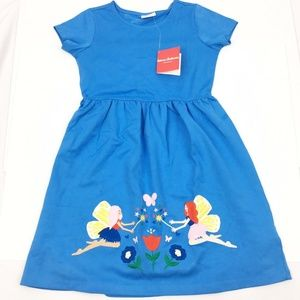 Hanna Andersson Girls Solid Blue Babydoll Dress 10